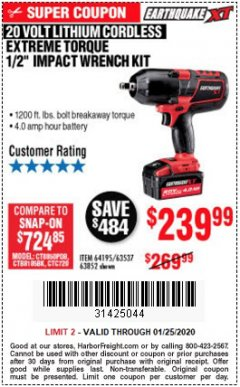 "Harbor Freight Coupon 20 VOLT LITHIUM-ION CORDLESS EXTREME TORQUE 1/2"" IMPACT WRENCH KIT Lot No. 63537/64195/63852/64349 Expired: 1/25/20 - $239.99"