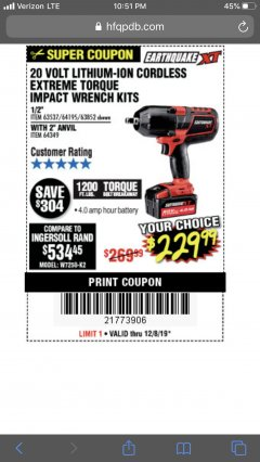 "Harbor Freight Coupon 20 VOLT LITHIUM-ION CORDLESS EXTREME TORQUE 1/2"" IMPACT WRENCH KIT Lot No. 63537/64195/63852/64349 Expired: 12/8/19 - $229.99"