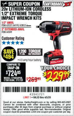"Harbor Freight Coupon 20 VOLT LITHIUM-ION CORDLESS EXTREME TORQUE 1/2"" IMPACT WRENCH KIT Lot No. 63537/64195/63852/64349 Expired: 4/5/20 - $229.99"