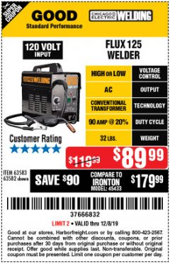 Harbor Freight Coupon CHICAGO ELECTRIC FLUX 125 WELDER Lot No. 63583, 63582 Expired: 12/8/19 - $89.99
