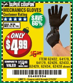 Harbor Freight Coupon MECHANICS GLOVES Lot No. 62432, 64178, 64179, 62426, 62433, 62429, 62434, 62428 Expired: 2/15/20 - $4.99