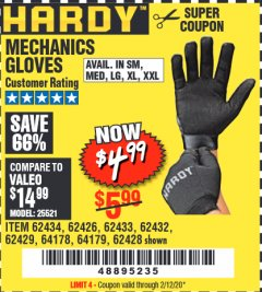 Harbor Freight Coupon MECHANICS GLOVES Lot No. 62432, 64178, 64179, 62426, 62433, 62429, 62434, 62428 Expired: 2/12/20 - $4.99