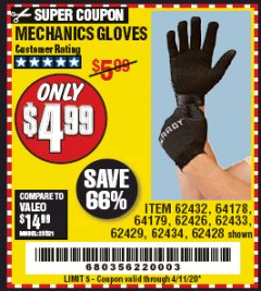 Harbor Freight Coupon MECHANICS GLOVES Lot No. 62432, 64178, 64179, 62426, 62433, 62429, 62434, 62428 Valid Thru: 4/11/20 - $4.99