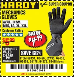 Harbor Freight Coupon MECHANICS GLOVES Lot No. 62432, 64178, 64179, 62426, 62433, 62429, 62434, 62428 Valid Thru: 3/7/20 - $4.99