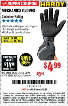 Harbor Freight Coupon MECHANICS GLOVES Lot No. 62434 Expired: 6/30/20 - $4.99