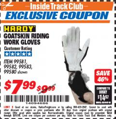 Harbor Freight ITC Coupon GOATSKIN RIDING WORK GLOVES Lot No. 99581/99583/99582/99580 Expired: 5/31/18 - $7.99