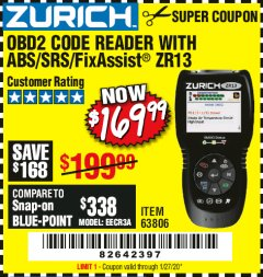Harbor Freight Coupon OBD2 CODE READER WITH ABS/SRS/FIXASSIST ZR13 Lot No. 63806 Expired: 1/27/20 - $169.99