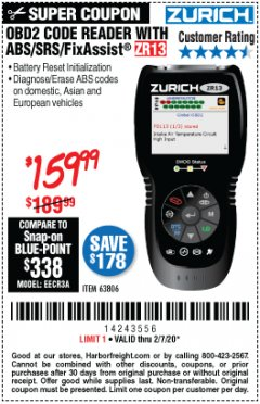 Harbor Freight Coupon OBD2 CODE READER WITH ABS/SRS/FIXASSIST ZR13 Lot No. 63806 Expired: 2/7/20 - $189.99