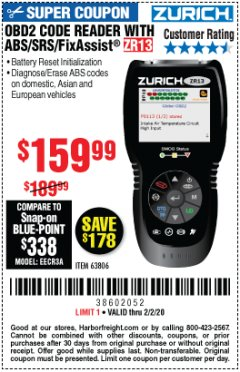 Harbor Freight Coupon OBD2 CODE READER WITH ABS/SRS/FIXASSIST ZR13 Lot No. 63806 Expired: 2/2/20 - $159.99