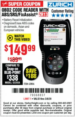 Harbor Freight Coupon OBD2 CODE READER WITH ABS/SRS/FIXASSIST ZR13 Lot No. 63806 Expired: 3/8/20 - $149.99
