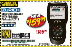 Harbor Freight Coupon OBD2 CODE READER WITH ABS/SRS/FIXASSIST ZR13 Lot No. 63806 Expired: 6/30/20 - $159.99