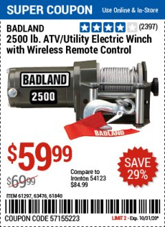 Harbor Freight Coupon BADLAND 2500 LB. ELECTRIC WINCH WITH WIRELESS REMOTE CONTROL Lot No. 61258/61297/64376/61840 Valid Thru: 10/31/20 - $59.99