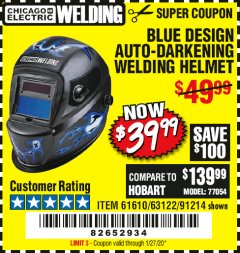 Harbor Freight Coupon CHICAGO ELECTRIC WELDING BLUE DESIGN AUTO-DARKENING WELDING HELMET Lot No. 61610/63122/91214 Expired: 1/27/20 - $39.99