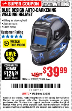 Harbor Freight Coupon CHICAGO ELECTRIC WELDING BLUE DESIGN AUTO-DARKENING WELDING HELMET Lot No. 61610/63122/91214 Expired: 3/29/20 - $39.99