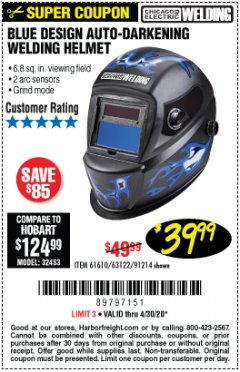 Harbor Freight Coupon CHICAGO ELECTRIC WELDING BLUE DESIGN AUTO-DARKENING WELDING HELMET Lot No. 61610/63122/91214 Expired: 6/30/20 - $39.99