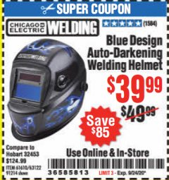 Harbor Freight Coupon CHICAGO ELECTRIC WELDING BLUE DESIGN AUTO-DARKENING WELDING HELMET Lot No. 61610/63122/91214 Expired: 9/24/20 - $39.99