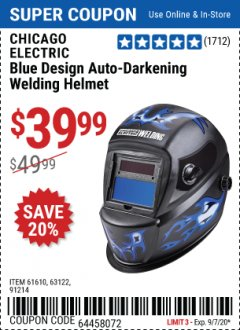 Harbor Freight Coupon CHICAGO ELECTRIC WELDING BLUE DESIGN AUTO-DARKENING WELDING HELMET Lot No. 61610/63122/91214 Expired: 9/7/20 - $39.99