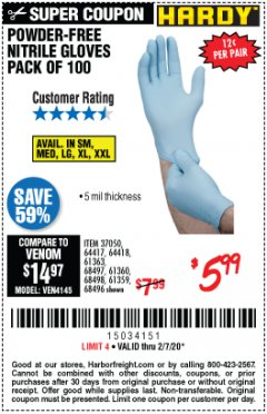 Harbor Freight Coupon HARDY POWDER-FREE NITRILE GLOVES PACK OF 100 Lot No. 37050/97581/64417/64418/61363/68497/61360/68498/61359/68496 Expired: 2/7/20 - $5.99