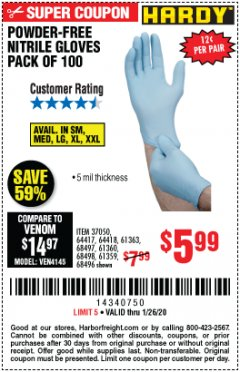 Harbor Freight Coupon HARDY POWDER-FREE NITRILE GLOVES PACK OF 100 Lot No. 37050/97581/64417/64418/61363/68497/61360/68498/61359/68496 Expired: 1/26/20 - $5.99