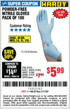 Harbor Freight Coupon HARDY POWDER-FREE NITRILE GLOVES PACK OF 100 Lot No. 37050/97581/64417/64418/61363/68497/61360/68498/61359/68496 Expired: 2/17/20 - $5.99