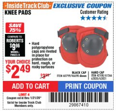 Harbor Freight ITC Coupon KNEE PADS Lot No. 60799/46698/42100/61366/62820/62821 Expired: 1/21/20 - $2.49