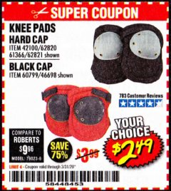 Harbor Freight Coupon KNEE PADS Lot No. 60799/46698/42100/61366/62820/62821 Expired: 3/31/20 - $2.49