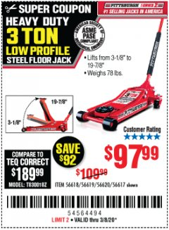 Harbor Freight Coupon HEAVY DUTY 3 TON LOW PROFILE STEEL FLOOR JACK Lot No. 56618/56619/56620/56617 Expired: 3/8/20 - $97.99