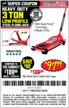 Harbor Freight Coupon HEAVY DUTY 3 TON LOW PROFILE STEEL FLOOR JACK Lot No. 56618/56619/56620/56617 Expired: 6/30/20 - $97.99