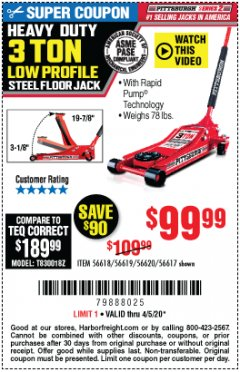Harbor Freight Coupon HEAVY DUTY 3 TON LOW PROFILE STEEL FLOOR JACK Lot No. 56618/56619/56620/56617 Expired: 6/30/20 - $99.99