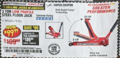 Harbor Freight Coupon HEAVY DUTY 3 TON LOW PROFILE STEEL FLOOR JACK Lot No. 56618/56619/56620/56617 Expired: 7/1/20 - $99.99