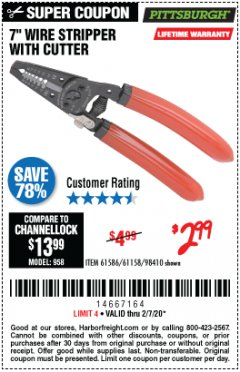 "Harbor Freight Coupon 7"" WIRE STRIPPER WITH CUTTER Lot No. 61586/61158/98410 Expired: 2/7/20 - $2.99"
