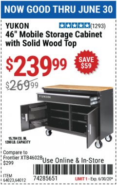 "Harbor Freight Coupon 46"" MOBILE STORAGE CABINET WITH SOLID WOOD TOP Lot No. 64023/64012 EXPIRES: 6/30/20 - $239.99"