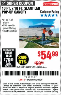 Harbor Freight Coupon 10 FT X 10 FT SLANT LEG POP-UP CANOPY Lot No. 62384/62898/62897/62899 Valid Thru: 2/23/20 - $54.99