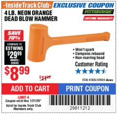 Harbor Freight ITC Coupon 4LB. NEON ORANGE DEAD BLOW HAMMER Lot No. 41800/69004 Expired: 1/21/20 - $8.99