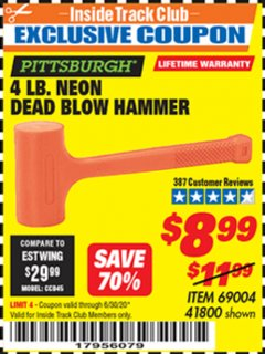 Harbor Freight ITC Coupon 4LB. NEON ORANGE DEAD BLOW HAMMER Lot No. 41800/69004 Valid Thru: 6/30/20 - $8.99