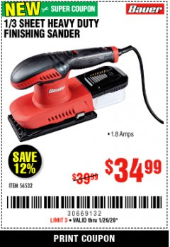Harbor Freight Coupon BAUER 1/3 SHEET HEAVY DUTY FINISHING SANDER Lot No. 56532 Expired: 1/26/20 - $34.99