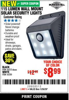 Harbor Freight Coupon 115 LUMEN WALL MOUNT SOLAR SECURITY LIGHTS Lot No. 56252,56330 Expired: 1/26/20 - $8.99
