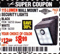 Harbor Freight Coupon 115 LUMEN WALL MOUNT SOLAR SECURITY LIGHTS Lot No. 56252,56330 Valid Thru: 2/29/20 - $8.99