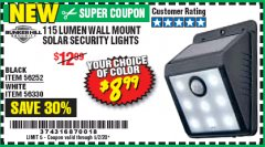 Harbor Freight Coupon 115 LUMEN WALL MOUNT SOLAR SECURITY LIGHTS Lot No. 56252,56330 Valid Thru: 5/2/20 - $8.99