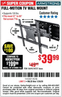 Harbor Freight Coupon FULL-MOTION TV WALL MOUNT Lot No. 56644/64357 Expired: 1/26/20 - $39.99