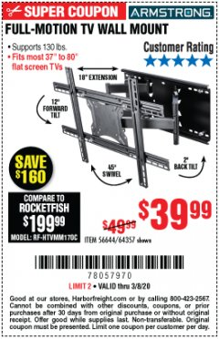 Harbor Freight Coupon FULL-MOTION TV WALL MOUNT Lot No. 56644/64357 Expired: 3/8/20 - $39.99