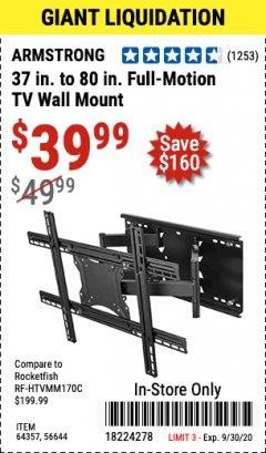 Harbor Freight Coupon FULL-MOTION TV WALL MOUNT Lot No. 56644/64357 Valid: 9/1/20 - 9/30/20 - $39.99