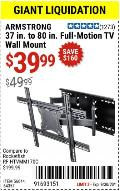 Harbor Freight Coupon FULL-MOTION TV WALL MOUNT Lot No. 56644/64357 Valid Thru: 9/30/20 - $39.99