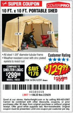 Harbor Freight Coupon 10 FT. X 10 FT. PORTABLE SHED Lot No. 56184/63297 Expired: 2/29/20 - $129.99