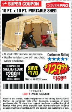 Harbor Freight Coupon 10 FT. X 10 FT. PORTABLE SHED Lot No. 56184/63297 Expired: 2/8/20 - $129.99