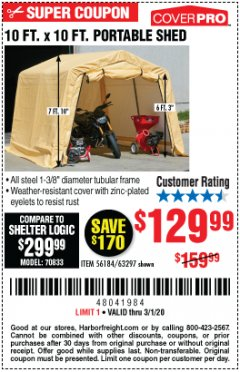 Harbor Freight Coupon 10 FT. X 10 FT. PORTABLE SHED Lot No. 56184/63297 Expired: 3/1/20 - $129.99