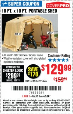 Harbor Freight Coupon 10 FT. X 10 FT. PORTABLE SHED Lot No. 56184/63297 Expired: 6/30/20 - $129.99