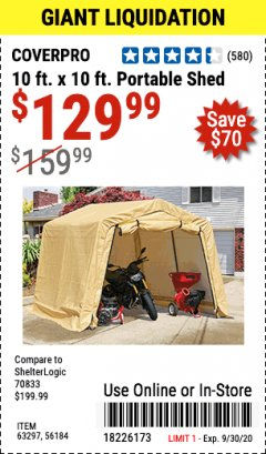 Harbor Freight Coupon 10 FT. X 10 FT. PORTABLE SHED Lot No. 56184/63297 Expired: 9/30/20 - $129.99