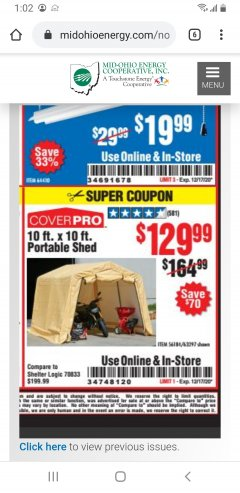 Harbor Freight Coupon 10 FT. X 10 FT. PORTABLE SHED Lot No. 56184/63297 Expired: 12/17/20 - $129.99