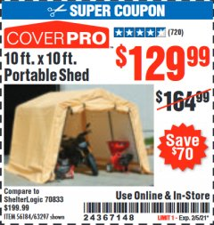 Harbor Freight Coupon 10 FT. X 10 FT. PORTABLE SHED Lot No. 56184/63297 Expired: 2/5/21 - $129.99